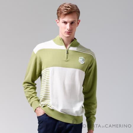 ROBERTA諾貝達 台灣製 拉鍊高領保暖 喀什米爾羊毛衣 綠色