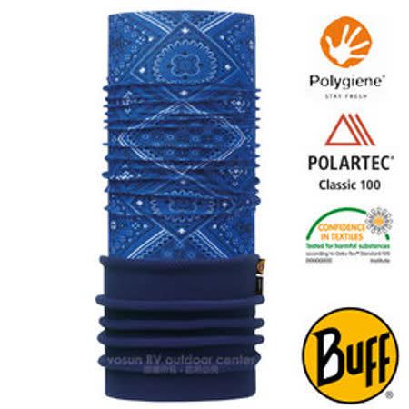 【西班牙 BUFF】POLARTEC 加長型超彈性保暖魔術頭巾/可當圍巾_圍脖帽子_113094 旅人藍紋