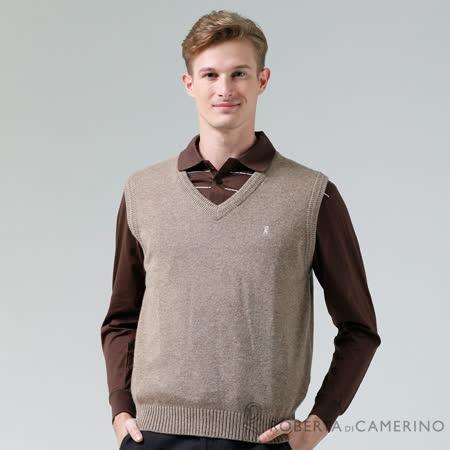 ROBERTA諾貝達 進口素材 台灣製 V領簡約優雅 純羊毛背心 淺咖