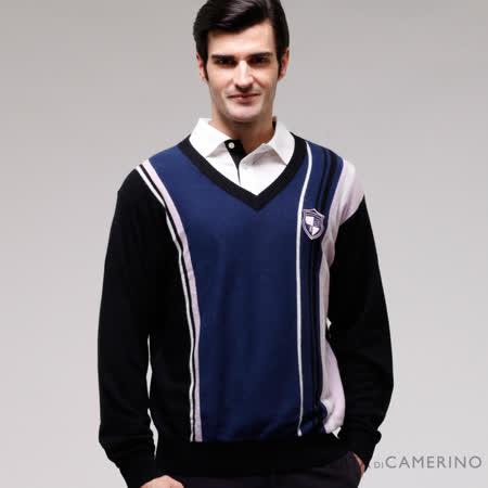 ROBERTA諾貝達 台灣製 型男款 V領喀什米爾毛衣 藍黑