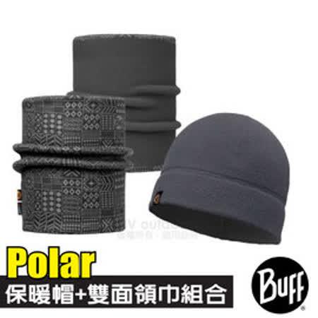 【西班牙 BUFF】Polar保暖帽+雙面載彈性魔術頭巾超值組合/可當圍巾.口罩圍脖_知性灰紋 113284