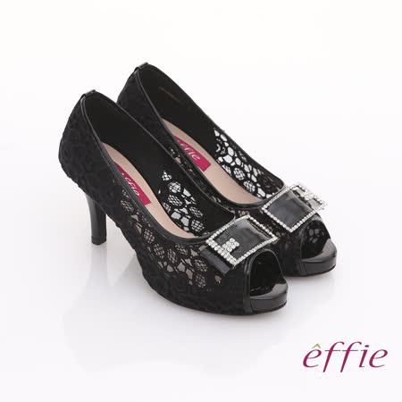 【effie】濃情藝文 全真皮拼接蕾絲鑽飾方扣魚口鞋(黑)