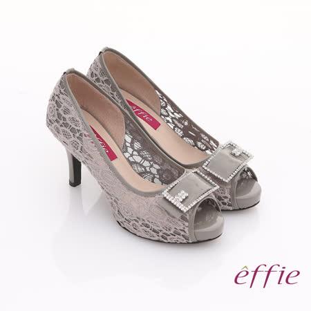 【effie】濃情藝文 全真皮拼接蕾絲鑽飾方扣魚口鞋(灰)