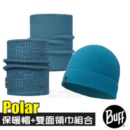 【西班牙 BUFF】Polar保暖帽+雙面載彈性魔術頭巾超值組合/可當圍巾.口罩圍脖_神秘藍紋 113284