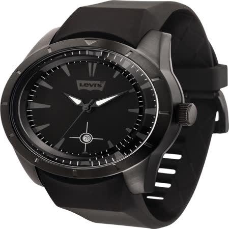 Levi's詭影任務立體時標時尚腕錶-黑x玫瑰金時標