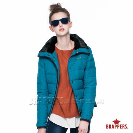BRAPPERS 女款 女用毛領短版羽絨外套-藍綠