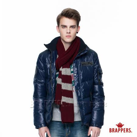 BRAPPERS 男款 男用配色貼標羽絨外套-寶藍