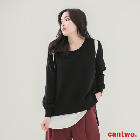 cantwo雪紡拼接假兩件針織上衣(共三色)