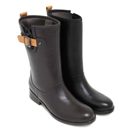 【GREEN PHOENIX】率性主義撞色金屬皮扣平底中筒雨靴