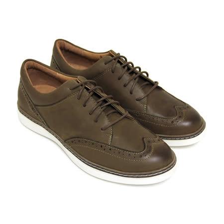 【GREEN PHOENIX】英倫紳士雷射雕花綁帶臘感牛皮平底牛津鞋(男款)