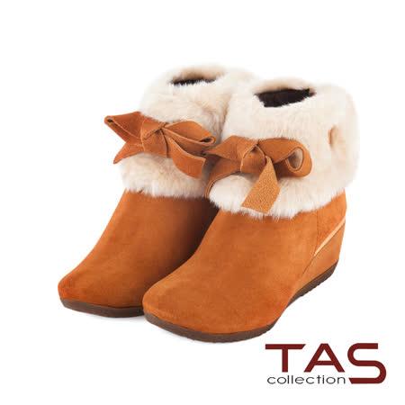 【開箱心得分享】gohappy 線上快樂購TAS 甜美女孩 反領絨毛繫上可愛蝴蝶結楔型短靴-甜美棕好用嗎愛 買 退貨