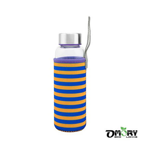【OMORY】冷熱兩用玻璃隨身水瓶280ml-條紋紫