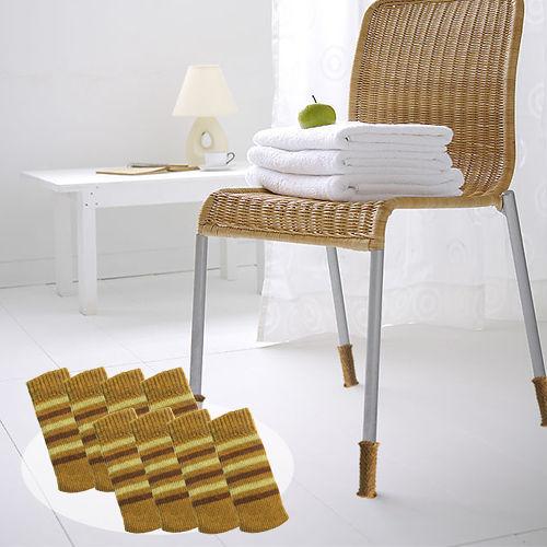~OMORY~日式椅桌床腳套8入2組~條紋駝色