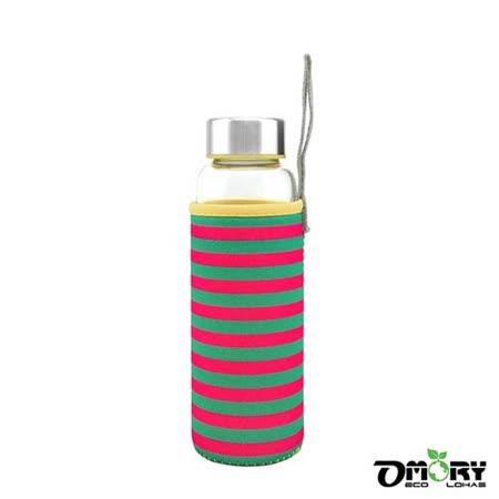 【OMORY】冷熱兩用玻璃隨身水瓶280ml-條紋黃