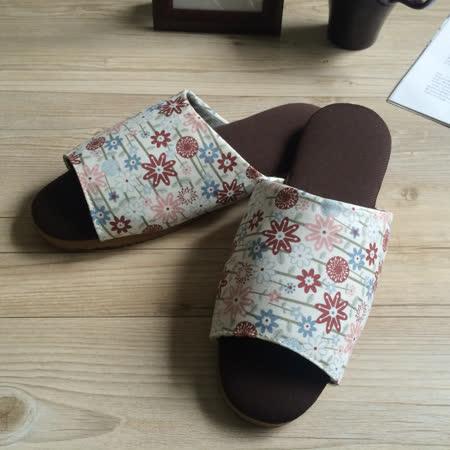 品味漫活咖啡紗家居室內拖鞋-星花-白