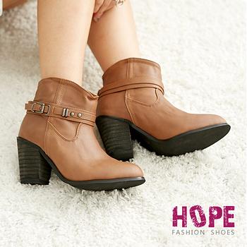 【HOPE】韓版質感真皮側扣環鉚釘素色粗跟短靴-可可【K167D2854】