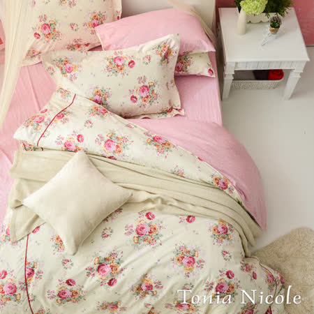 【Tonia Nicole東妮寢飾】薔薇花園精梳棉兩用被床包組(雙人)
