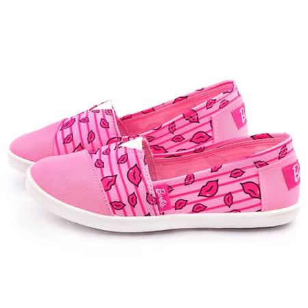 童鞋城堡-Barbie芭比 女款 俏皮紅脣帆布休閒鞋BR7815-粉