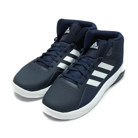 (男) ADIDAS 高筒Q彈避震籃球鞋 藍白 鞋全家福