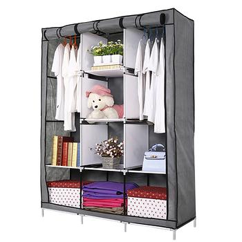 超大三排加寬加高8格簡易防塵組合式衣櫃(多色可選)