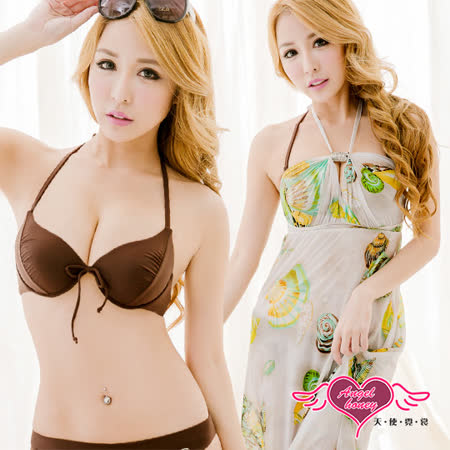 【天使霓裳】比基尼 海洋系女孩三件式鋼圈泳裝(咖啡M~XL)