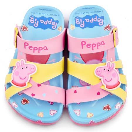 童鞋城堡-粉紅豬小妹 佩佩豬 中童 甜美可愛軟木風格拖鞋PG0017-粉