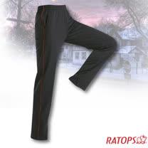 【瑞多仕-RATOPS】中性款 刷毛保暖長褲(出芽配).長袖衛生褲.保暖褲_DB5934 暗黑/火焰紅色 V1