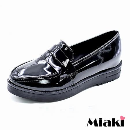 【Miaki】樂福鞋經典英倫簡約時尚素雅厚底包鞋 (黑色)