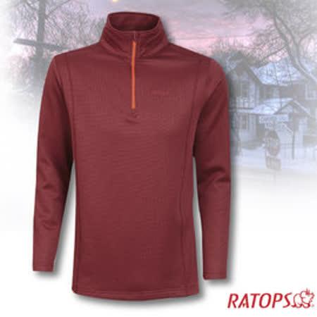 【瑞多仕-RATOPS】男款 Thermolite 長袖保暖衣.半開襟立領衫_DB5904 牛津紅色 V1