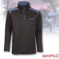 【瑞多仕-RATOPS】男款 Thermolite 長袖保暖衣.半開襟立領衫_DB5905 黑/礦物藍色 V1