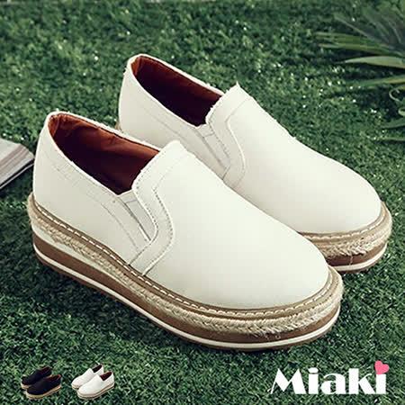 【Miaki】休閒鞋東大時尚草編皮質拼接厚底懶人包鞋 (白色 / 黑色)