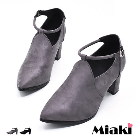 【Miaki】高跟鞋韓典雅V口剪裁踝扣繫帶尖頭包鞋 (灰色 / 黑色)