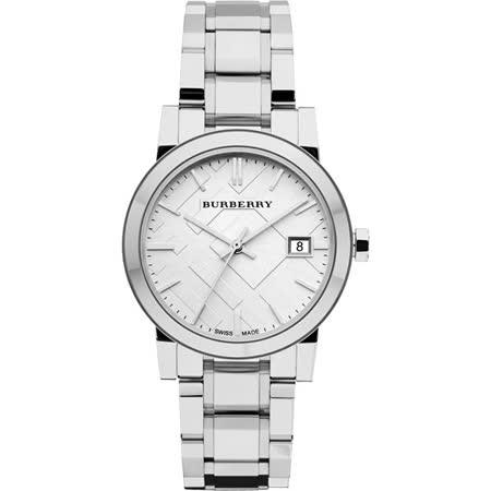BURBERRY 英倫經典格紋腕錶-銀/34mm BU9100