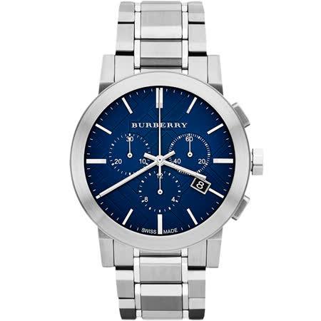 BURBERRY 英倫經典格紋計時腕錶-藍x銀/42mm BU9363