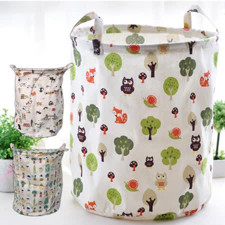 【inBOUND】日韓棉麻束口可折疊收納桶-大尺寸(三款可選)