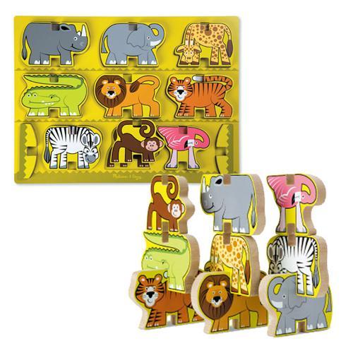 華森葳兒童教玩具 拼圖教具系列-立體拼圖-動物園 N7-9024