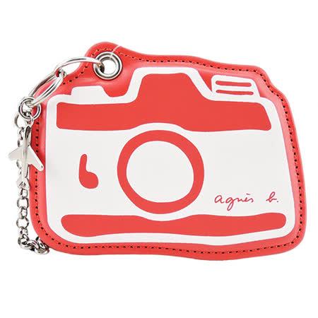 agnes b. 相機圖案皮革吊飾(紅)