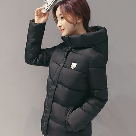 【Stoney.ax】韓版3D修身保暖羽絨棉休閒外套-黑色