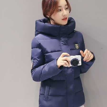 【Stoney.ax】韓版3D修身保暖羽絨棉休閒外套-深藍色