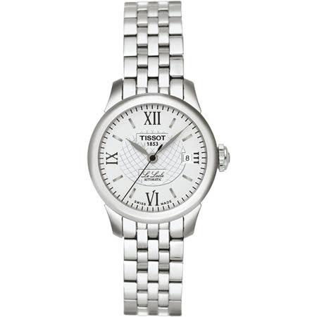 TISSOT Le Locle 力洛克系列圖騰紋機械女錶-白/25mm T41118333