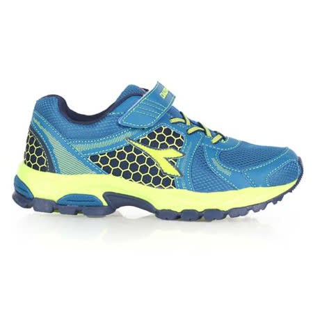 (童) DIADORA 男女大越野跑鞋-慢跑 路跑 藍螢光綠