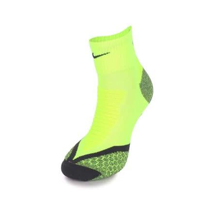 (男) NIKE 慢跑專業避震短襪-襪子 路跑 螢光黃黑 M