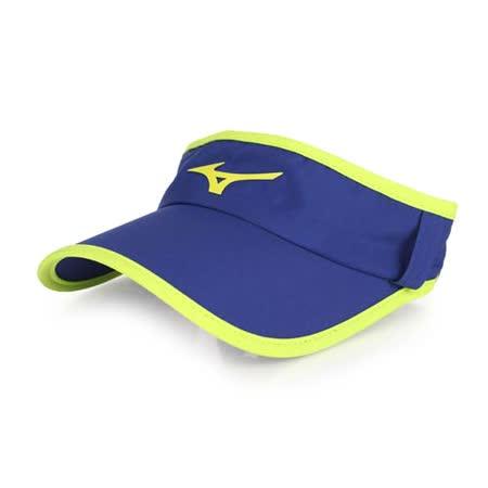 MIZUNO 運動路跑空心帽-慢跑 防曬 帽子 深藍螢光黃 F