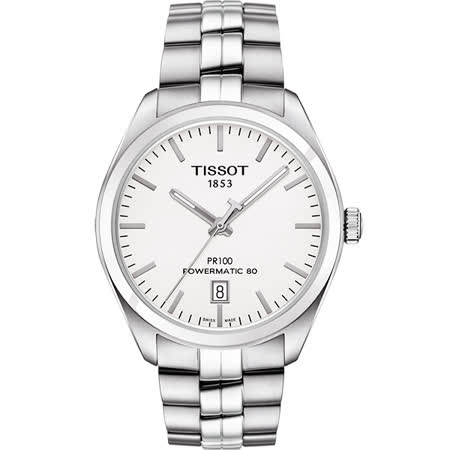 TISSOT 天梭 PR100 Powermatic 80 機械腕錶-銀/39mm T1014071103100