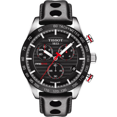 TISSOT PRS516 系列三眼計時腕錶-黑/42mm T1004171605100
