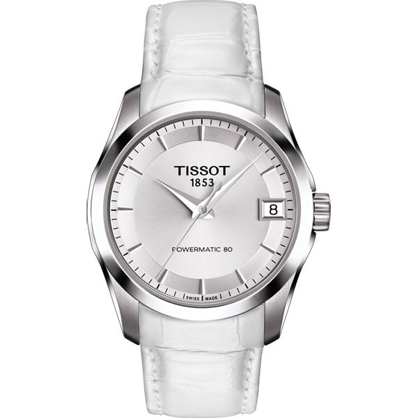 TISSOT 天梭 建構師 Powermatic 80 機械女錶~銀x白32mm T035