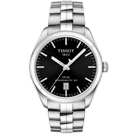 TISSOT 天梭 PR100 Powermatic 80 機械腕錶-黑x銀/39mm T1014071105100