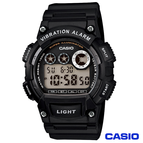 CASIO卡西歐 LED閃光震動提示 電子 錶 W~735H~1A