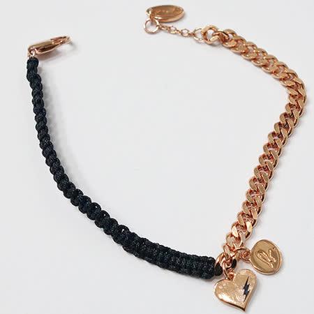 agnes b. 愛心LOGO玫瑰金鍊混搭黑色編織手鍊
