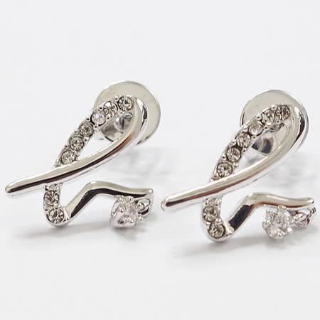 agnes b. 水鑽LOGO穿式耳環(銀色)